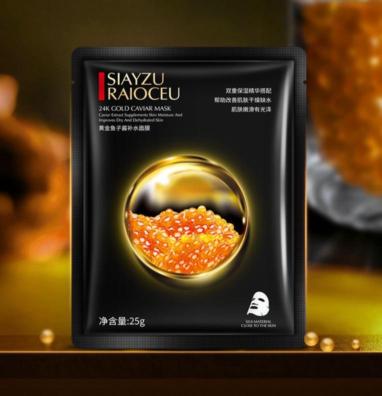 Тканевая маска для лица с золотом и черной икрой Siayzu Raioceu 24k Gold Caviar Mask