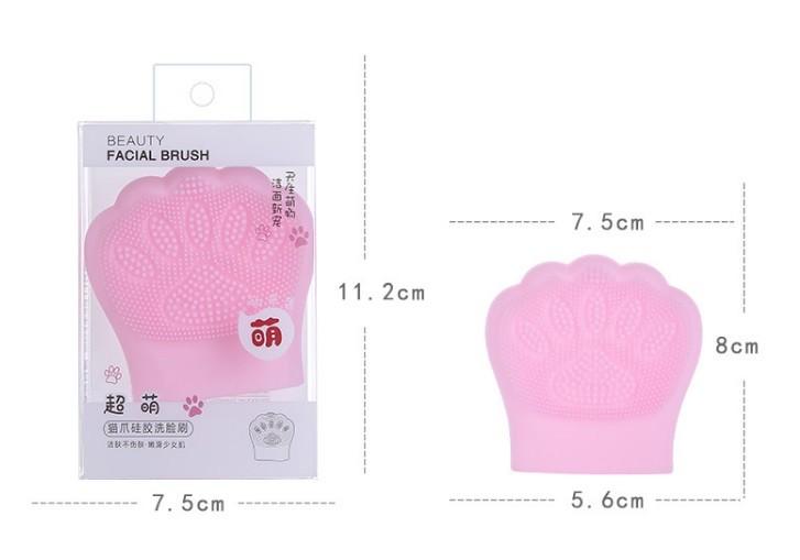 Очищающая силиконовая щетка для лица Кошачья Лапа, надевается на пальцы (Цвет случайный)
