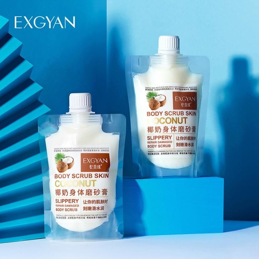 Скраб для тела очищающий увлажняющий с экстрактом КОКОСА EXGYAN Body Scrub Skin Coconut, 300 гр.
