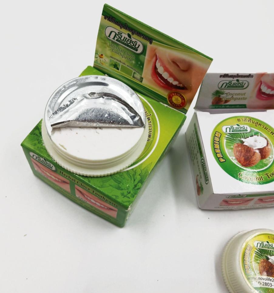 Набор Тайских зубных паст травяная + кокосовая GREEN HERB, 2 шт. (25 гр. + 10 гр.)